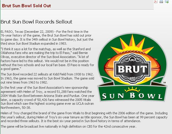 sun bowl sold out
