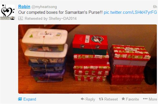 Holly and Crew completed boxes for smaritan's purse