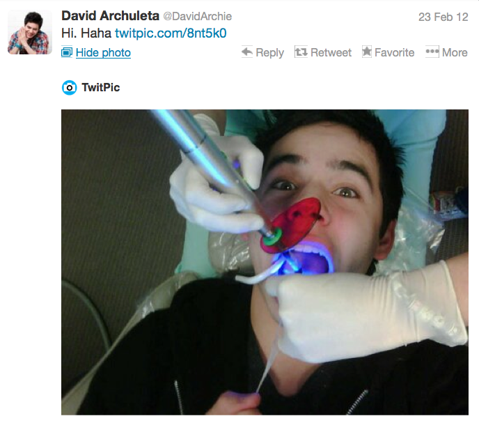 David's tweet from February 23 2012 showing him at the dentist.