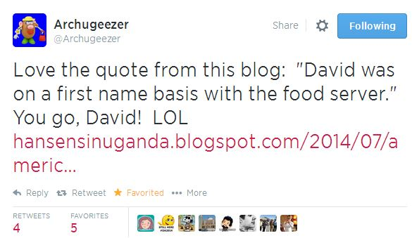 Archugeezer on tweet about David -foodserver-first name basis-Ethiopia