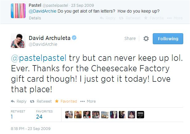 tweet David to pastel re cheesecake card