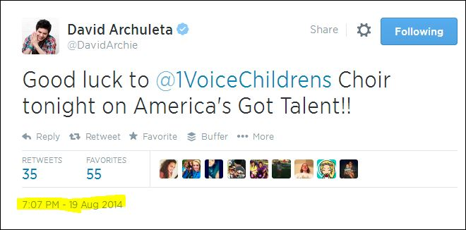 1voicechildrenschoir tweet david archuleta