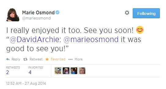 tweet Marie Osmond to David 8-26-2014