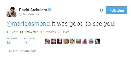 tweet david in response to MArie OSmond 8-26-2014