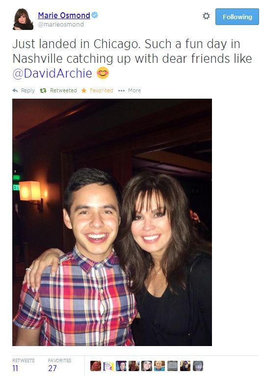 tweet marie osmond and David