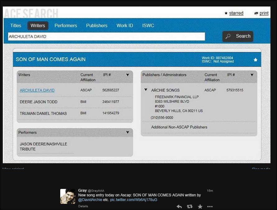 new ascap entry