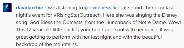 David IG post about LExi Walker