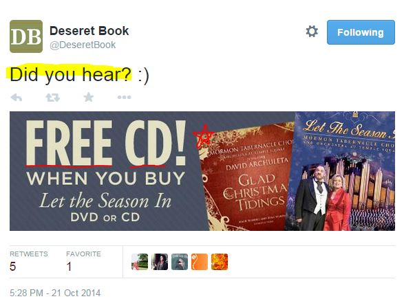 Tweet Deseret Free CD GCT