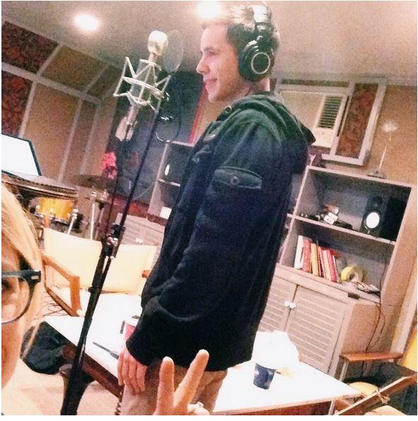 David and Brooke in studio recording Cherry Lane