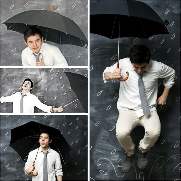 David ARchuleta in the Rain with Umbrellas and Jumping