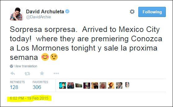 david archulete tweet surpresa