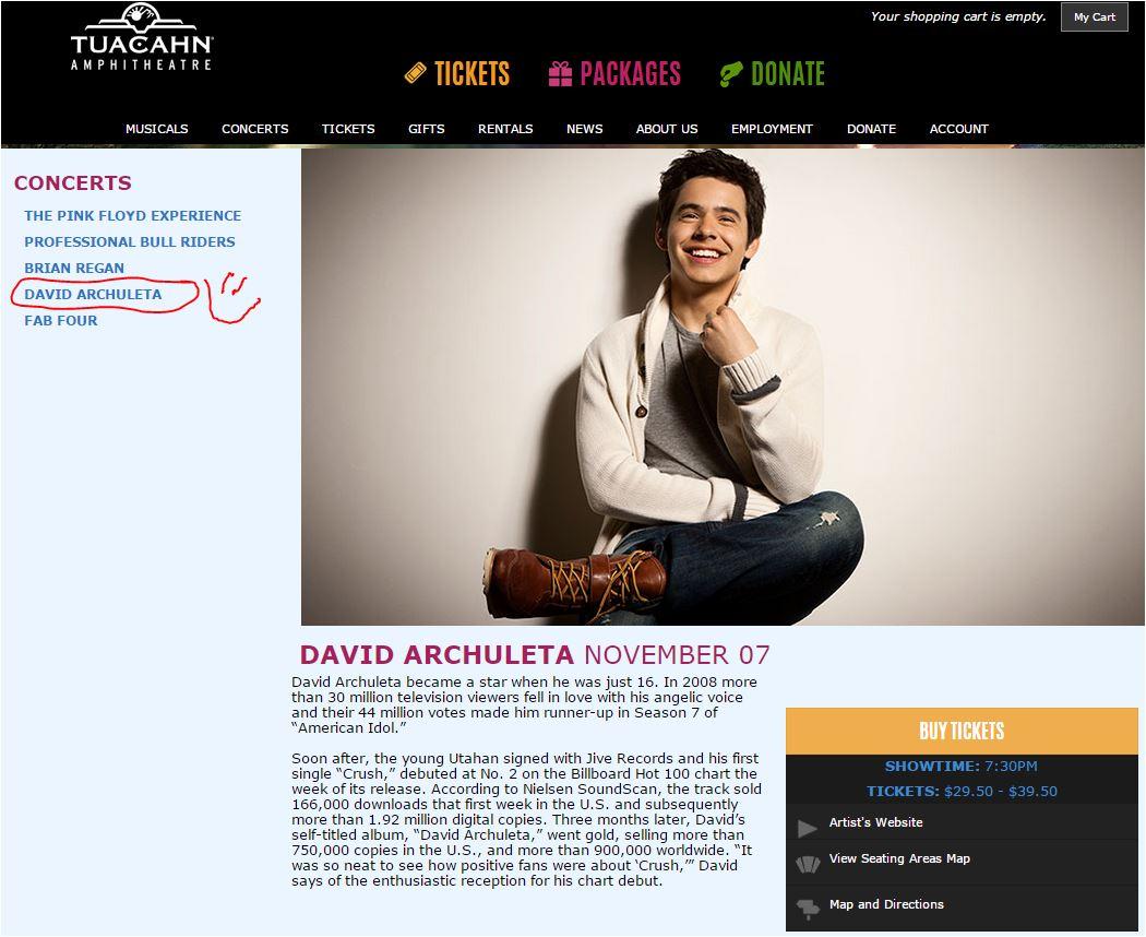 Tuacahn David's concert page