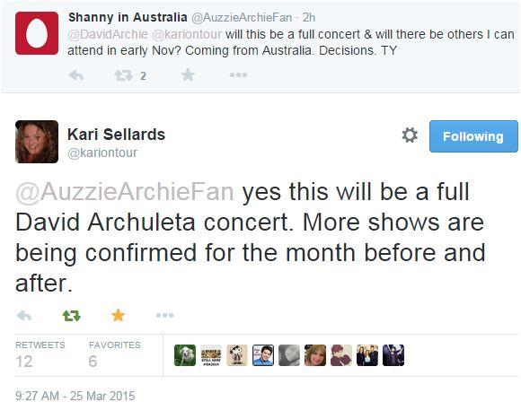 Tweet KAri Concerts are coming