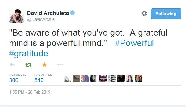tweet david quote be aware of what you've got... powerful gratitude