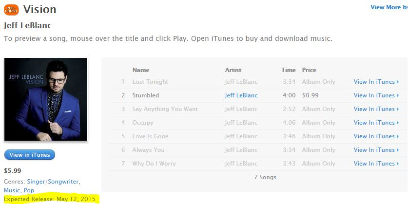 Vision jeff leblanc pre order on iTunes
