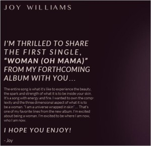 joy Williams introduces new song Oh Mama