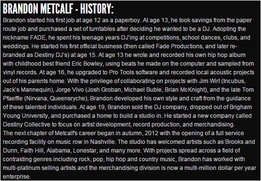 Brandon MEtcalf History