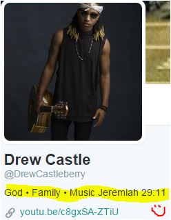 Drew Castle twitter bio