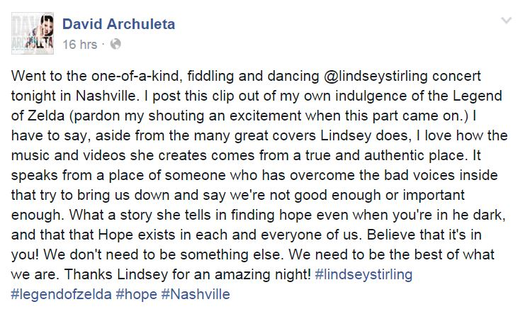 Lindsey Stirling concert David fb post mssage