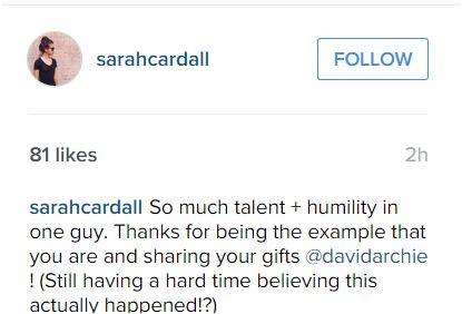 Sara Cardall message on IG
