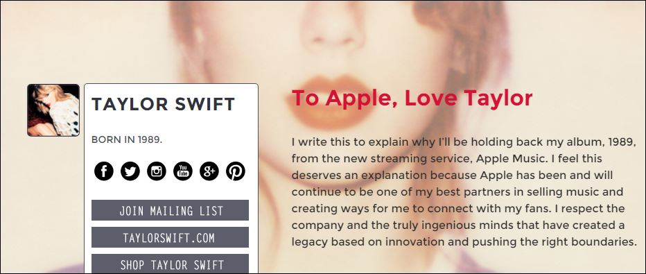 to apple love taylor