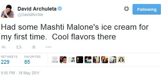 Tweet ice cream MAshti Malone's