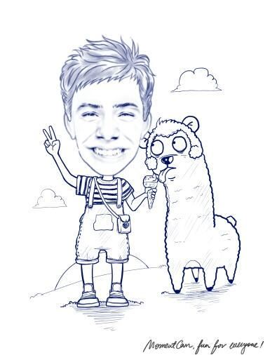 Cartoon David  and and a furry friend with ice cream credit pocoelsy