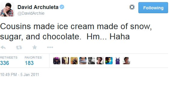 tweet ice cream snow and chocolate