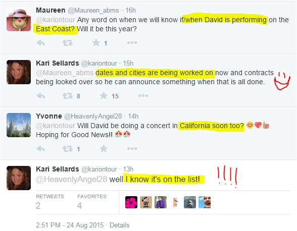 Kari twitter 8-24-3 concert east coast and Cali info