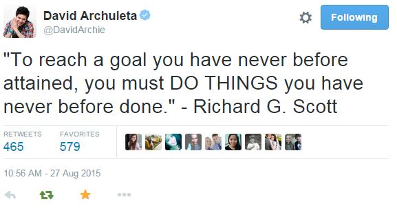 Tweet David Archuleta quote -To reach a Goal-8-27-2014
