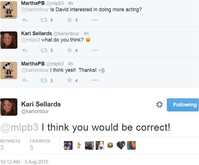 Tweets Kari and MArtha David wants to act