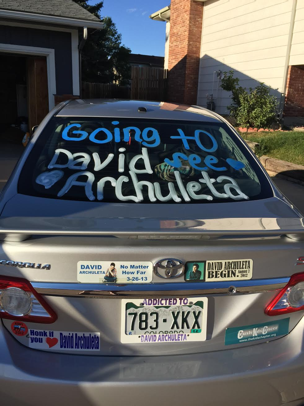 David Archuleta Shelley's car signs bumper stickers Fans of David
