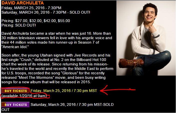 david archuleta queens creek second show buy tickets
