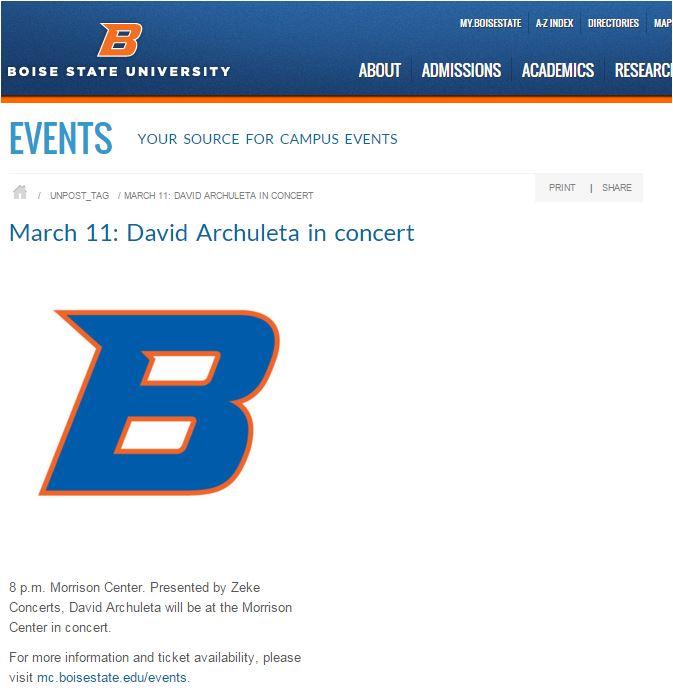 Boise concert promo BSU
