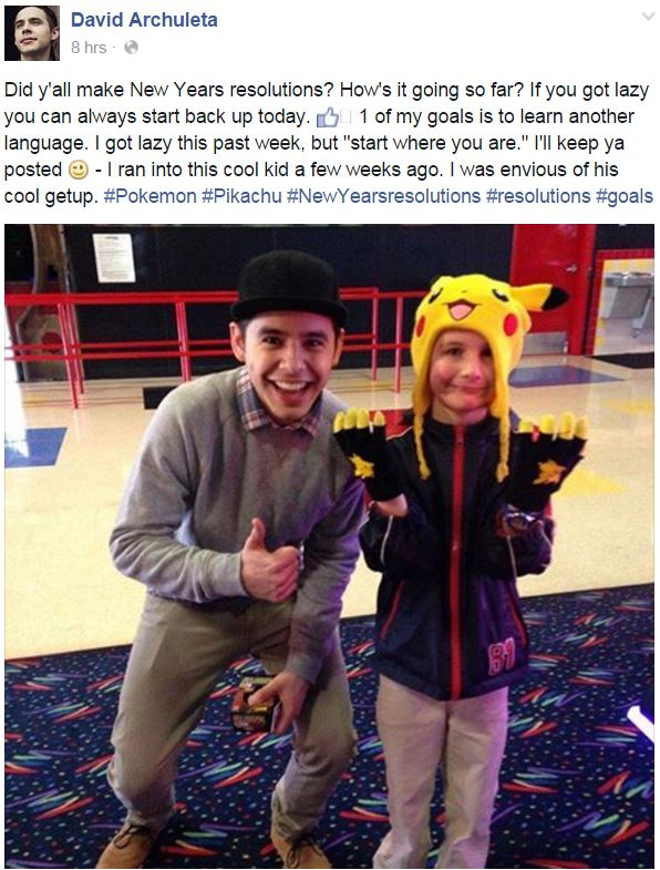 Facebook post with booy in Pikachu hat