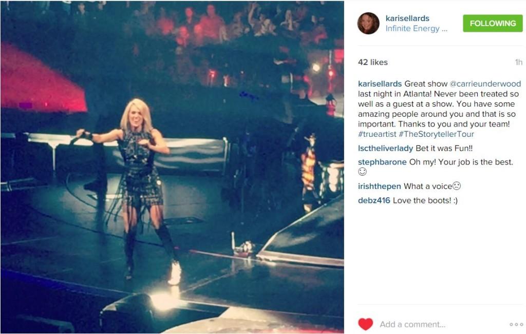 IG Kari guest of Carrie Underwood
