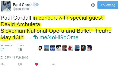 Tweet Paul Cardall  upcoming concert Slovenia with David
