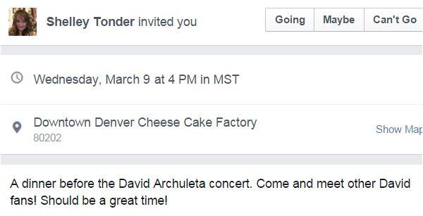 facebook fans of david dinner invite Denver