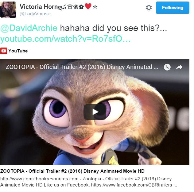 tweet Lady V Zootopia