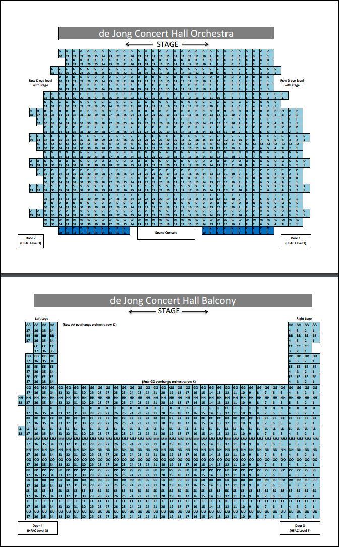 seating chart de jong concert hall