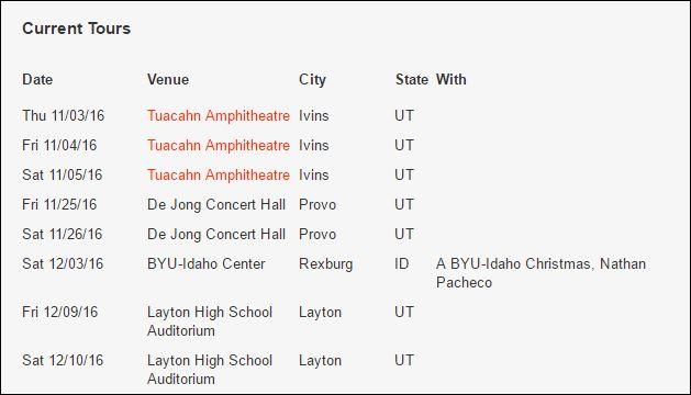 David Archuleta Windish upcoming shows scedule fall 2016