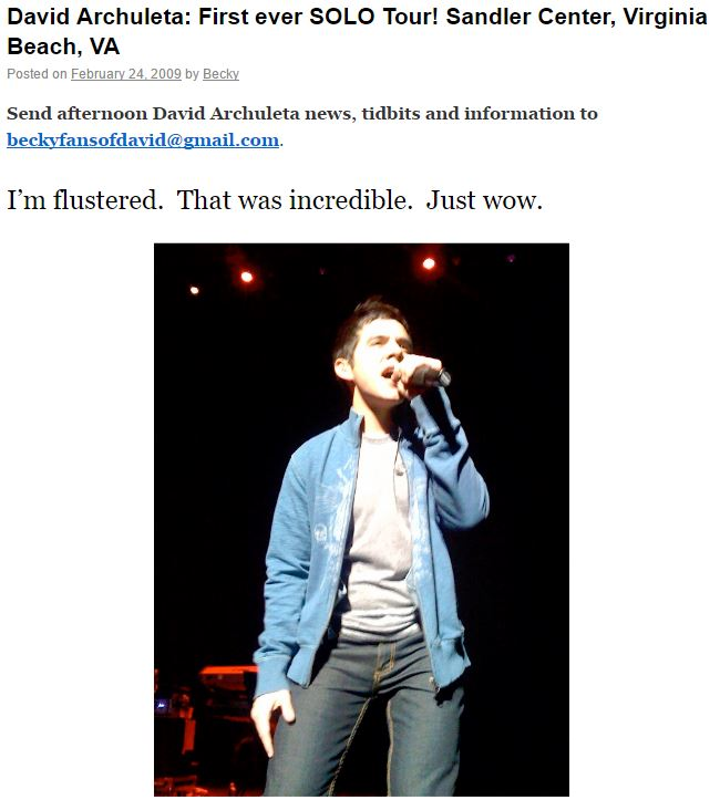 David Archuleta Virginia Beach FOD post by Becky