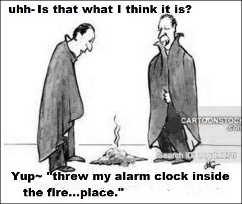 Daylight Savings Time Meme alarm clock inside the fireplace 2
