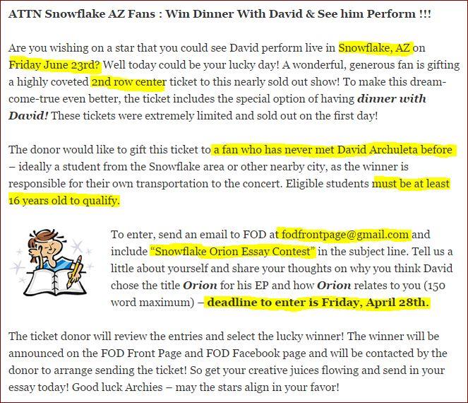 David Archuleta Snowflake essay contest FOD