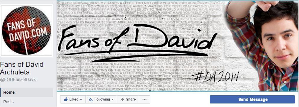 Facebook Fans Of David new fan page