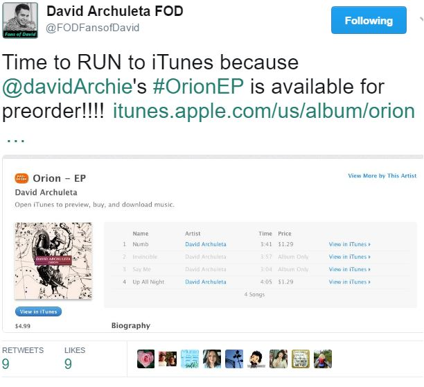 Orion preorder iTunes tweet FOD