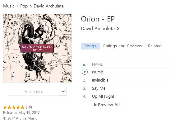 David Archuleta Orion on iTunes