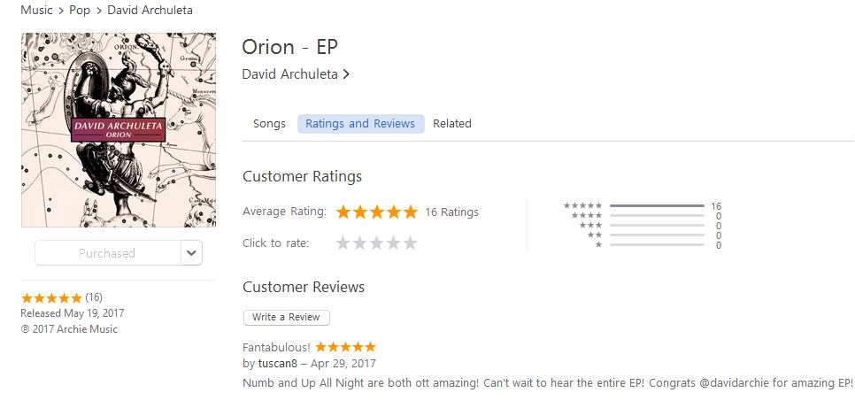 Orion reviews on iTunes