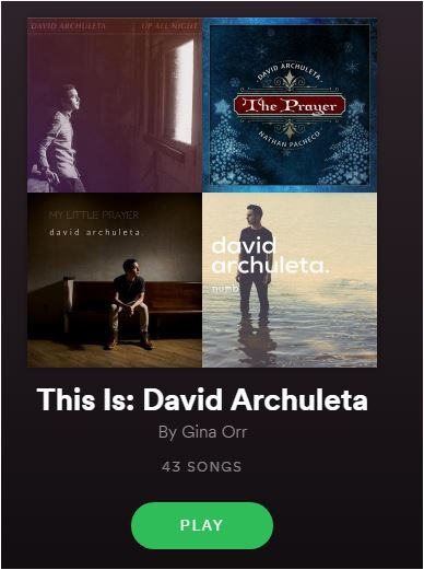 Spotify David Archuleta playlist by Gina Orr