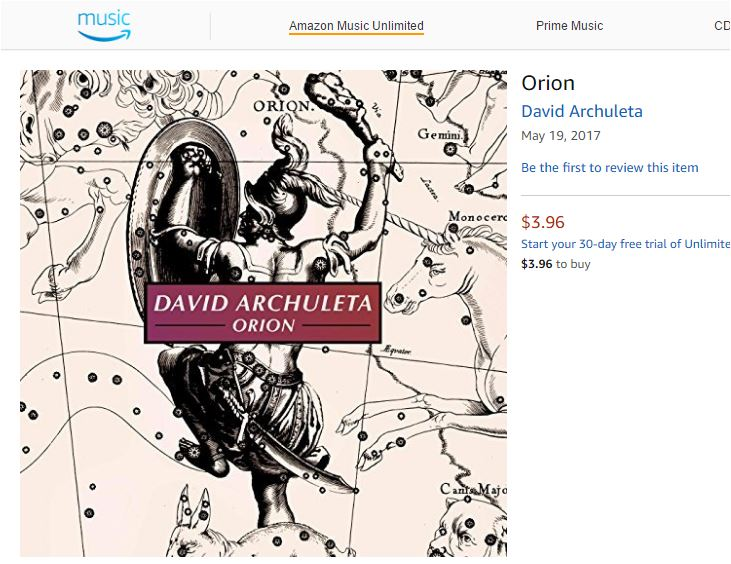david archuleta Orion on Amazon
